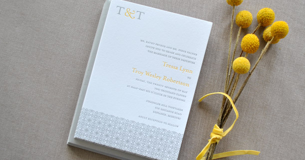 san francisco modern letterpress wedding invitations custom printed in yellow and gray tile pattern