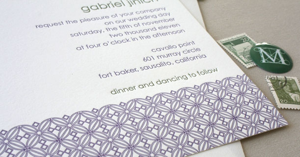 san francisco letterpress wedding invitations custom printed in gray and purple tile pattern