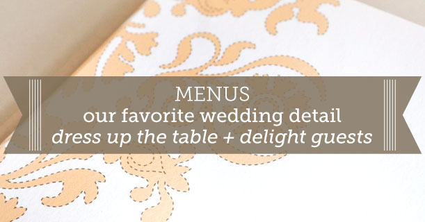 custom printed letterpress wedding menus