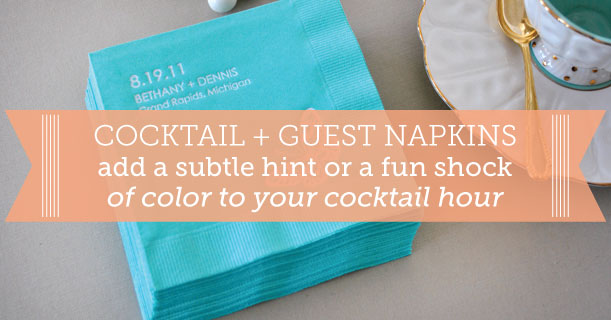 custom printed cocktail and guest napkins for wedding invitations dinner party receptions